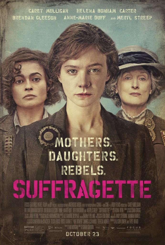 Suffragette (2015) film poster with Helena Bonham Carter, Carey Mulligan and Meryl Streep