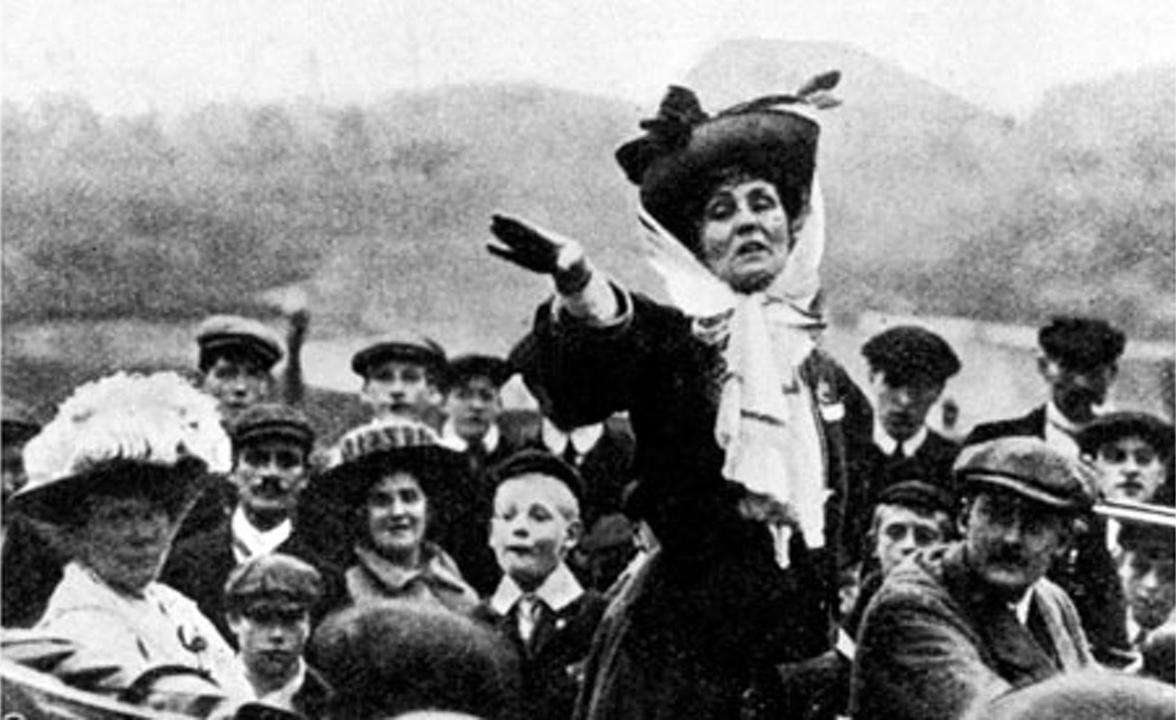 Suffragette Emmeline Pankhurst giving a speech, c.1910s