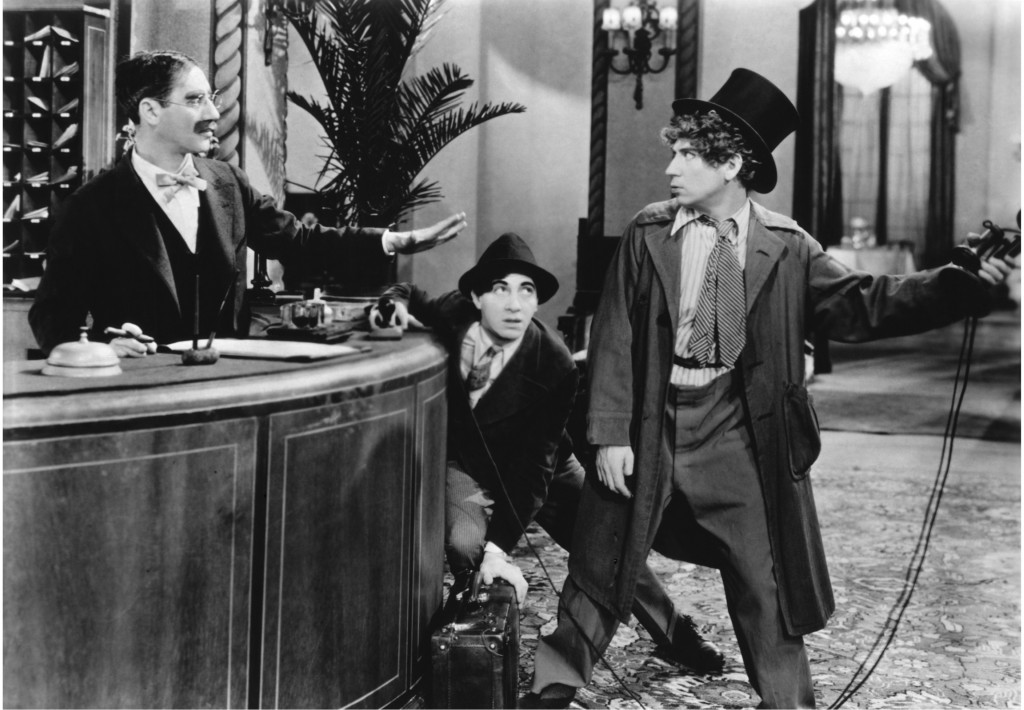 The Cocoanuts (1929), the Marx Brothers' second film. Groucho, Chico and Harpo cause mayhem in a hotel lobby.
