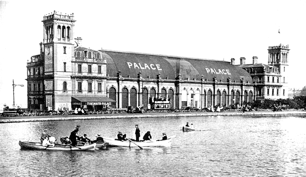 Tynemouth Park boating lake, close to Stan Laurel's school. The huge building dominating the scene was known in Stan's day as Tynemouth Palace. Built in 1878 and later renamed the Plaza, it was destroyed by fire in 1996.