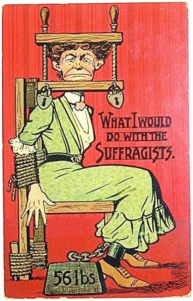 'What I would do with the Suffragists' anti-suffragist postcard, c.1910s