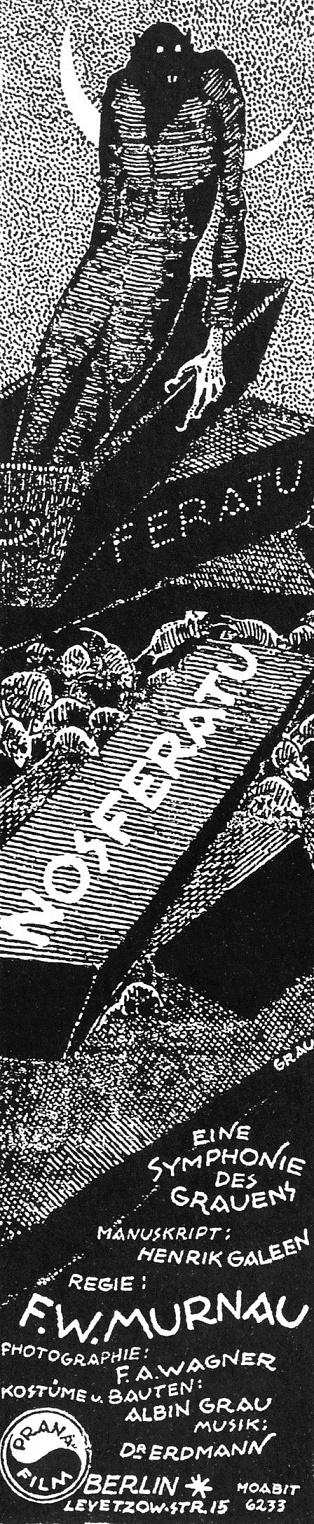 Nosferatu (1922) B&W coffins insert poster by Albin Grau