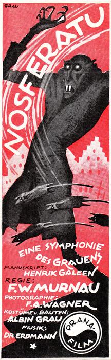 Nosferatu (1922) insert poster by Albin Grau, red