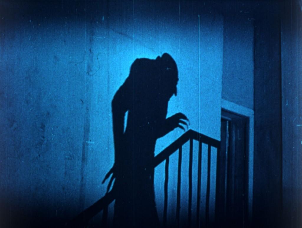 Nosferatu (1922) Max Schreck as Count Orlok climbing the stairs, UK BFI Blu-ray