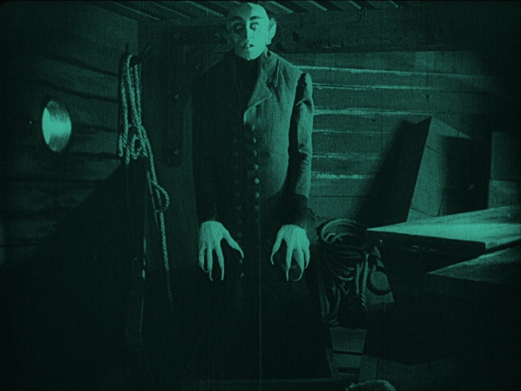 Nosferatu (1922) Max Schreck as Count Orlok rising from his coffin, UK Eureka-Masters of Cinema Blu-ray