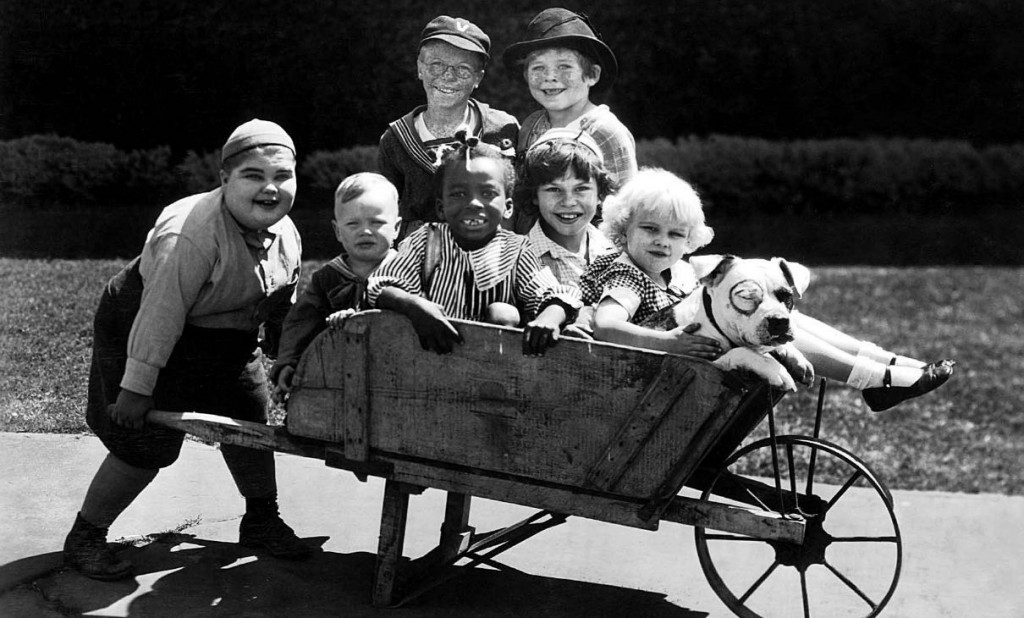 Jean Darling (right) and the rest of Our Gang in a wheelbarrow