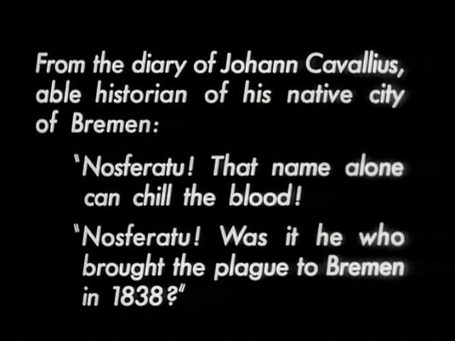 Nosferatu (1922), 1947 MoMA print English opening intertitle, public domain version