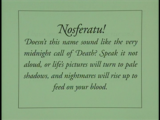 Nosferatu (1922), 1991 Shepard version English opening intertitle, US Image 1997 DVD