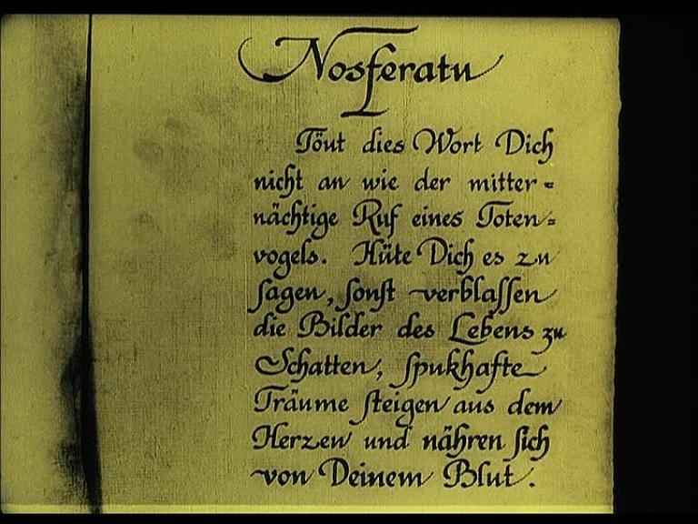 Nosferatu (1922), 1995 restoration German opening intertitle, 2002 Spanish Divisa DVD