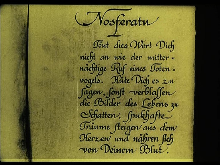 Nosferatu (1922), 1995 restoration German opening intertitle, 2002 Spanish Divisa DVD