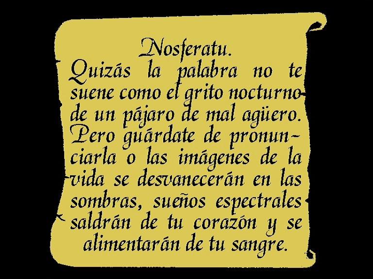 Nosferatu (1922), 1995 restoration Spanish opening intertitle, Spanish Divisa 2002 DVD