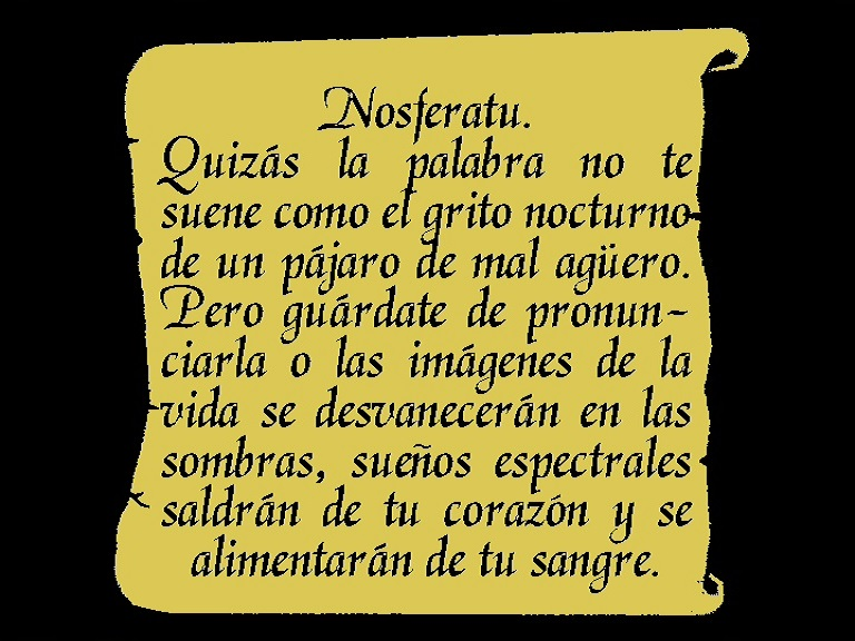 Nosferatu (1922), 1995 restoration Spanish opening intertitle, Spanish Divisa 2002 DVD