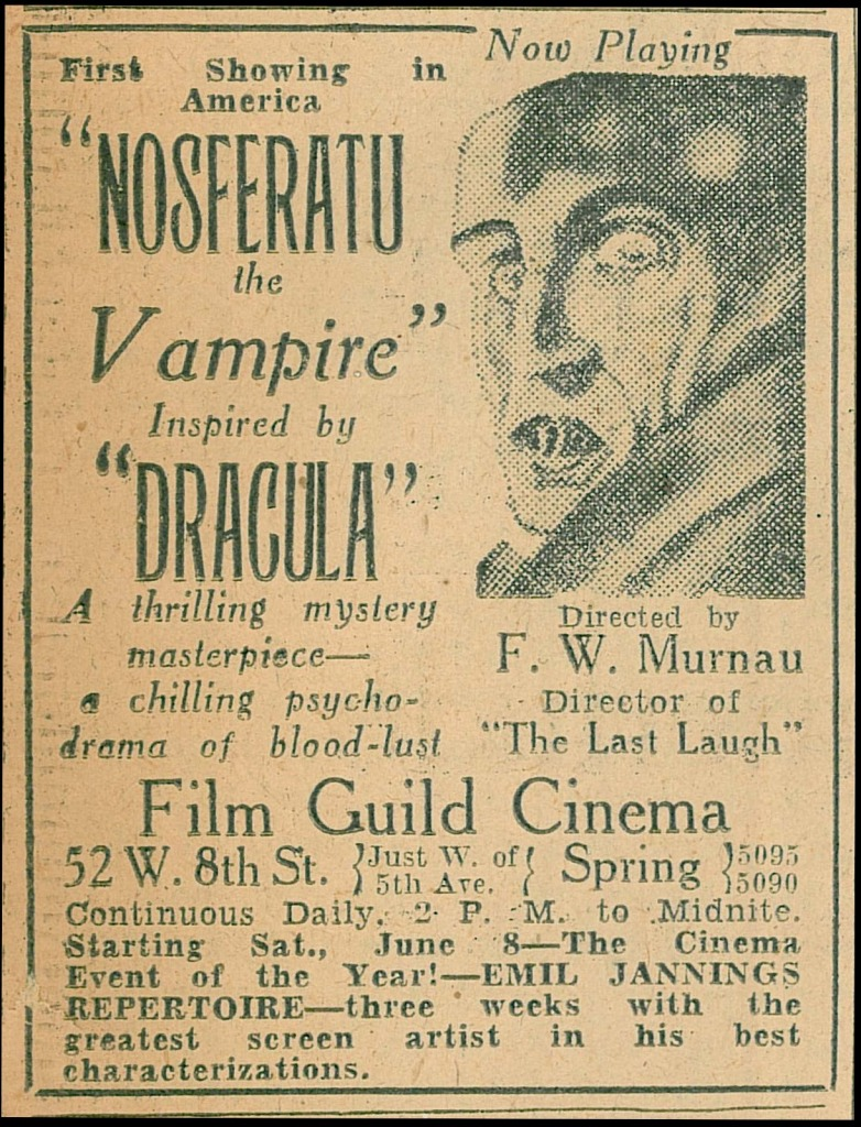 Nosferatu the Vampire (1922) US Film Guild Cinema advert, 1929
