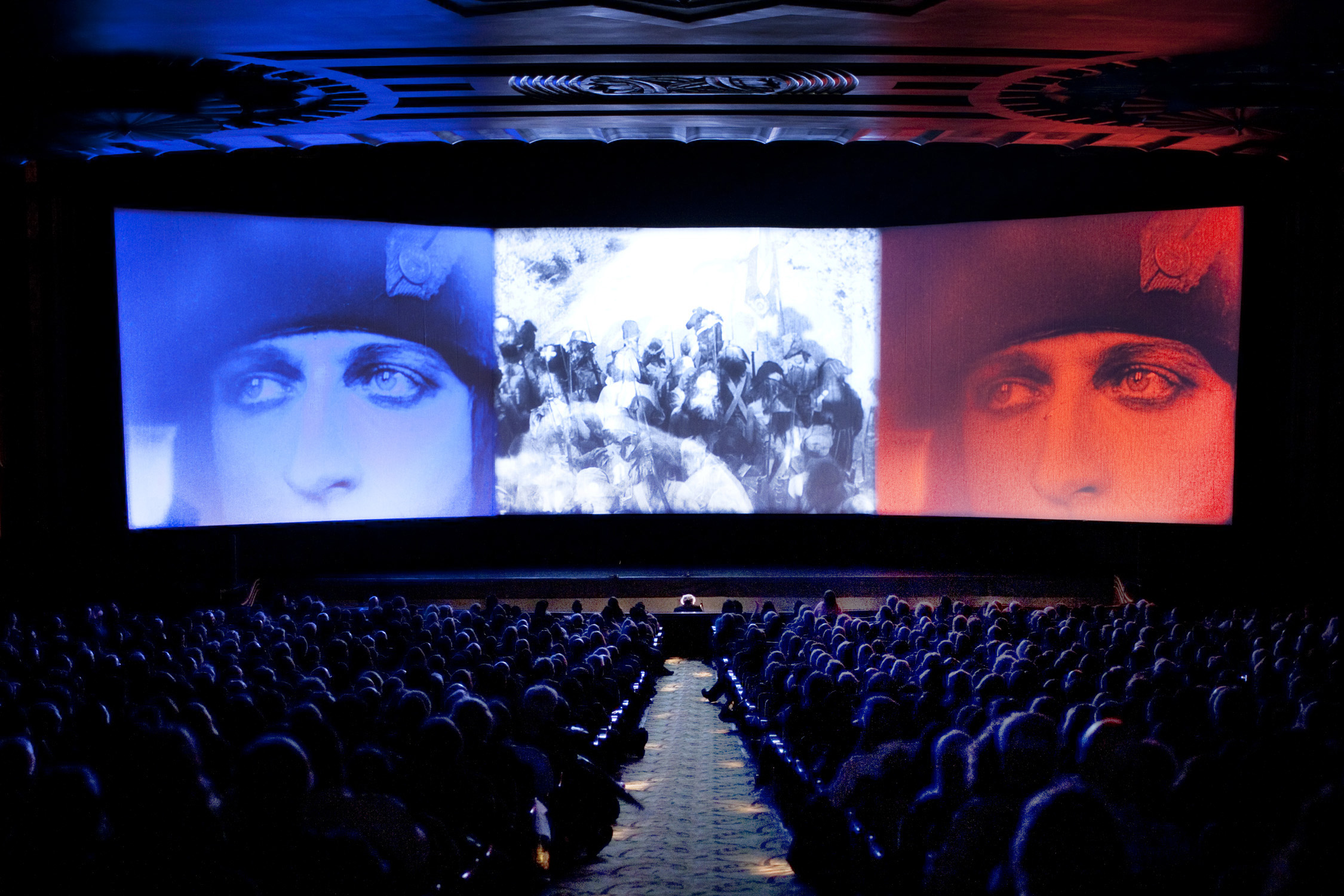 Napoléon (1927) triptych finale at Paramount Theatre, Oakland, during 2012 San Francisco Silent Film Festival