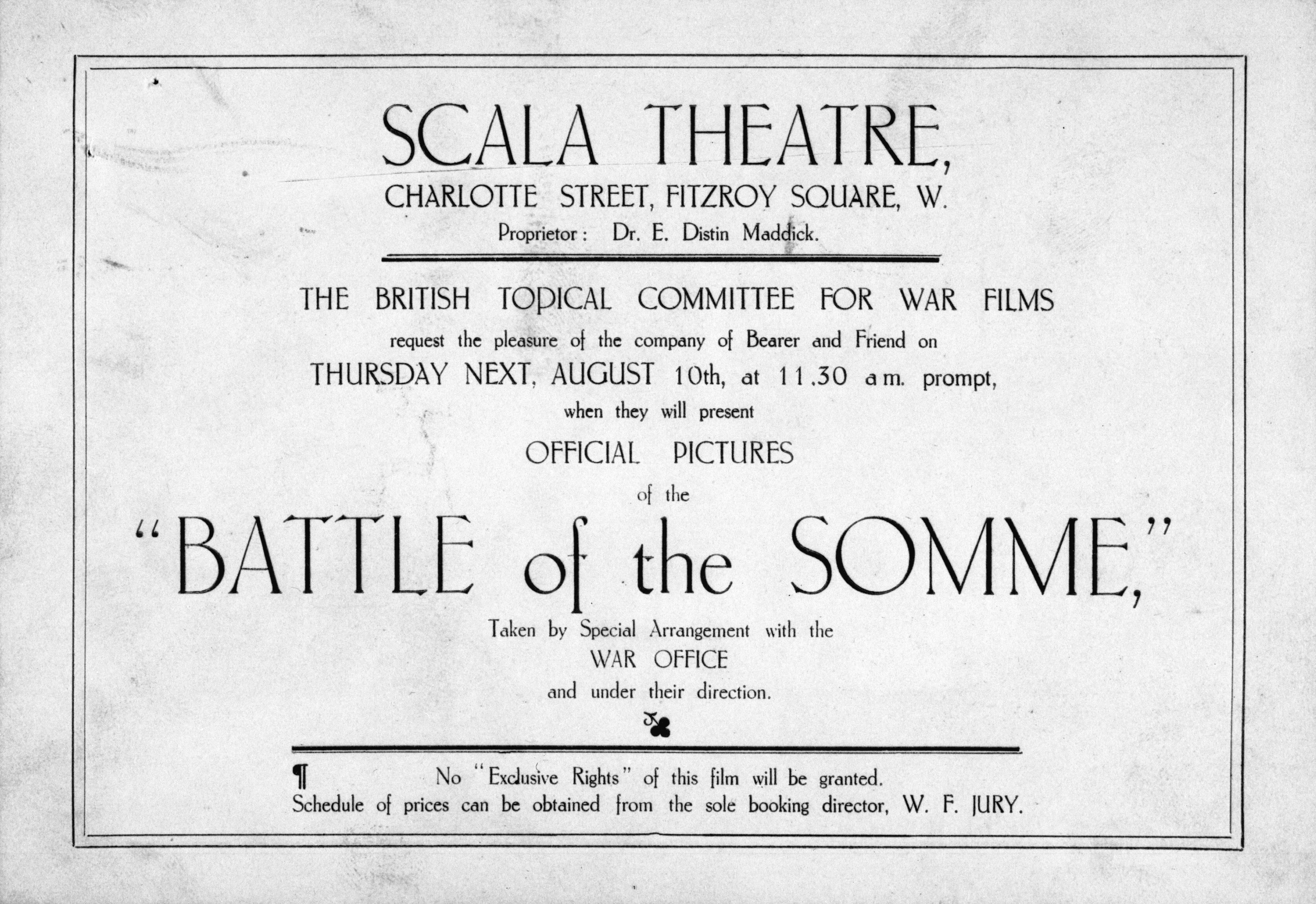 The Battle of the Somme (1916) original screening invitation card