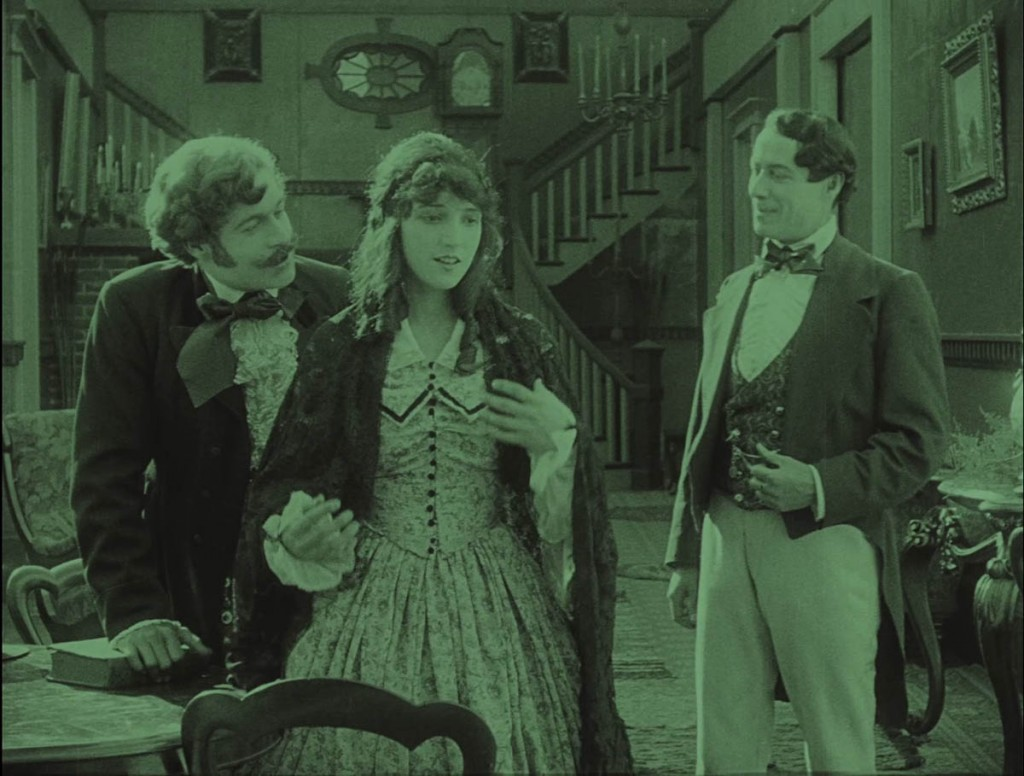 Elmer Clifton (L), Miriam Cooper and Henry B. Walthall in The Birth of a Nation (1915), BFI Blu-ray screenshot