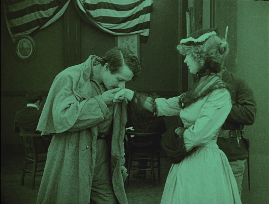 Henry B. Walthall and Lillian Gish in The Birth of a Nation (1915), BFI Blu-ray screenshot, kissing hand