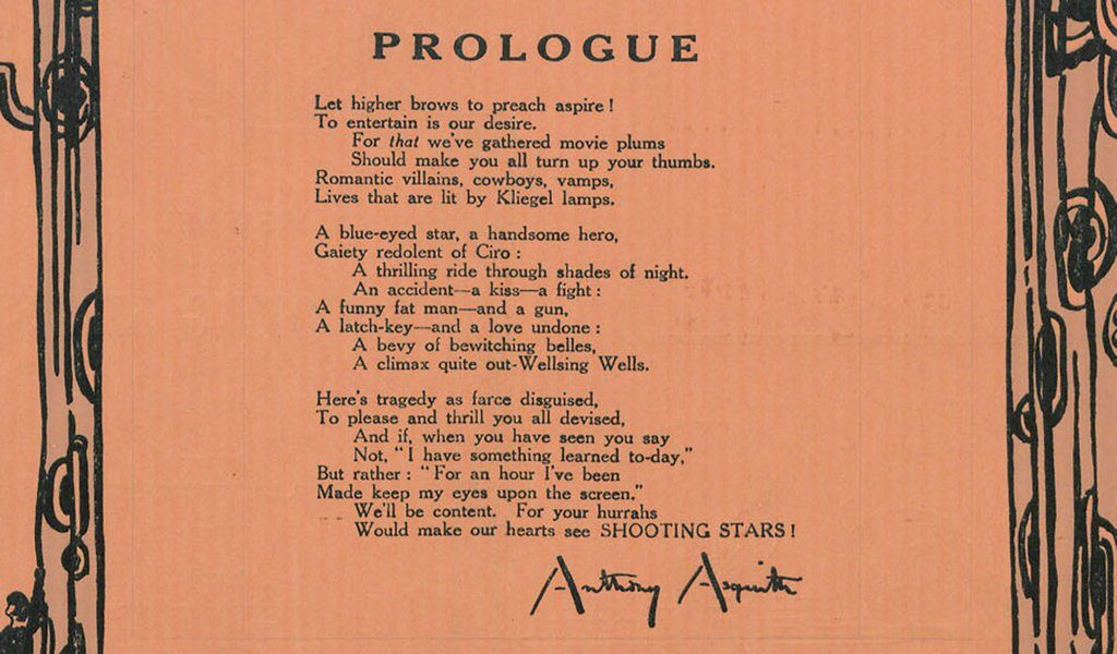 Shooting Stars (1928) pressbook poem by Anthony Asquith