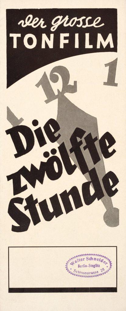 Die zwölfte Stunde. Eine Nacht des Grauens (1930) revision of Nosferatu (1922), German 8-page programme. Copy in Stiftung Deutsche Kinemathek Archiv.