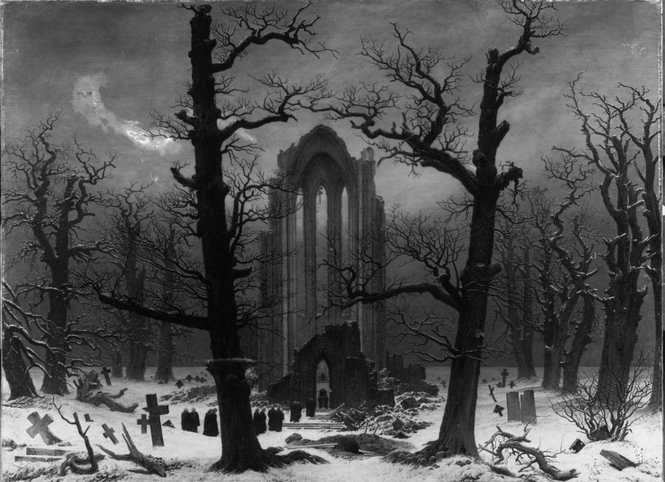 Klosterfriedhof im Schnee (Monastery Graveyard in the Snow, 1817-19) by Caspar David Friedrich (1774–1840)