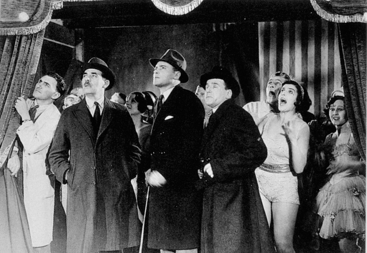 Herbert Marshall (centre, with cane) and Edward Chapman (with binoculars) in Murder! (1930, dir. Alfred Hitchcock)