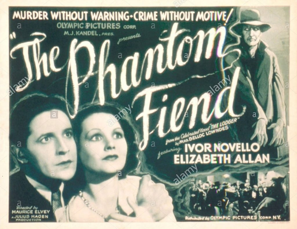 The Lodger aka The Phantom Fiend (1932) with Ivor Novello and Elizabeth Allan, US lobby card