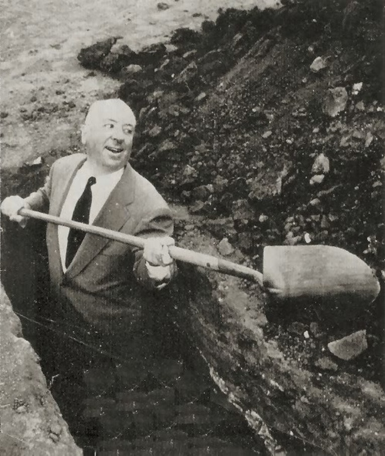 Hitch gleefully laying that public domain myth to rest: Alfred Hitchcock digging a grave