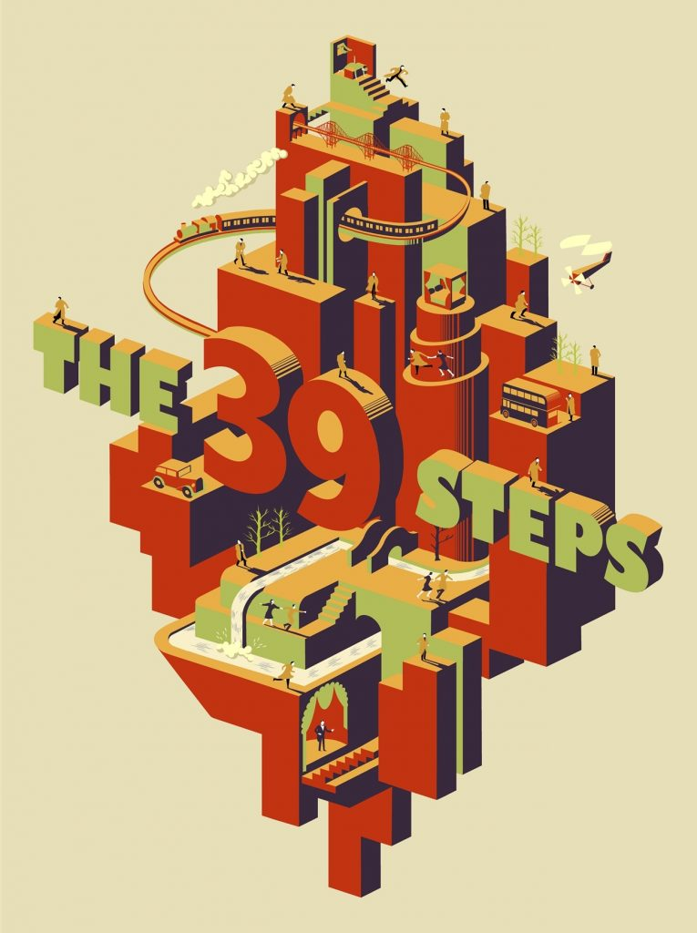 The 39 Steps (1935, dir. Alfred Hitchcock) poster by Adam Simpson, 2013