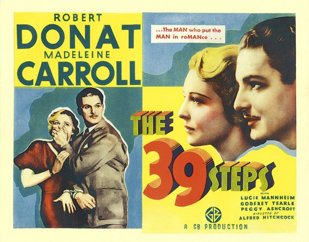 The 39 Steps (1935, dir. Alfred Hitchcock) US lobby card