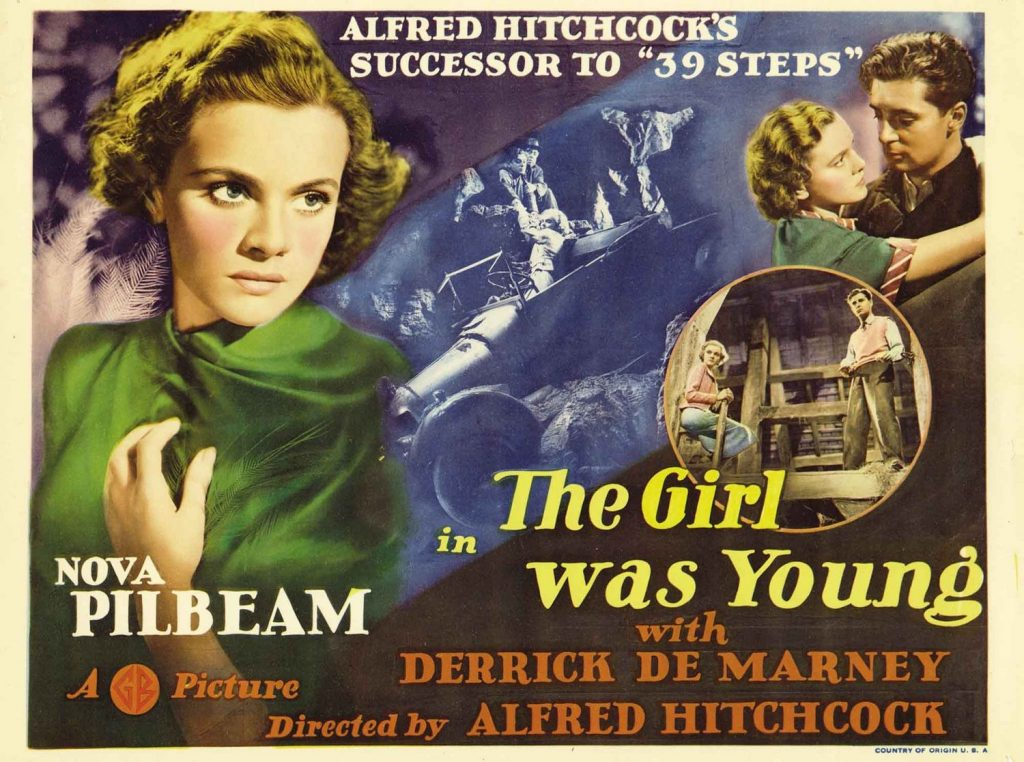 Young and Innocent aka The Girl is Young Indeed (1937, dir. Alfred Hitchcock) US lobby card