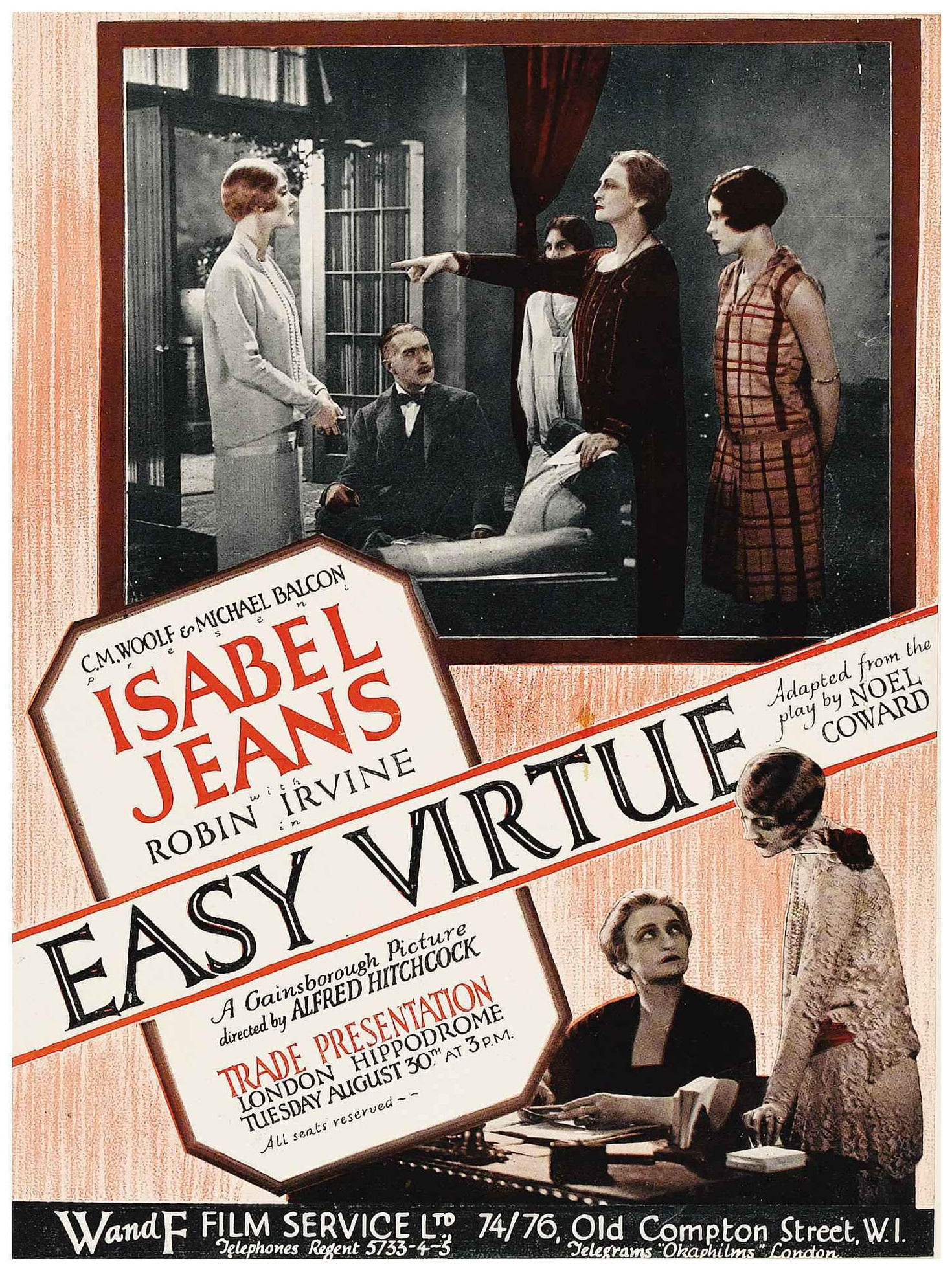 Easy Virtue (1927, dir. Alfred Hitchcock) UK trade magazine ad