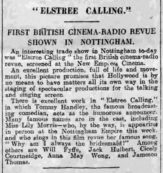 Elstree Calling (part-dir. Alfred Hitchcock) Nottingham Evening Post review, 18.3.1930