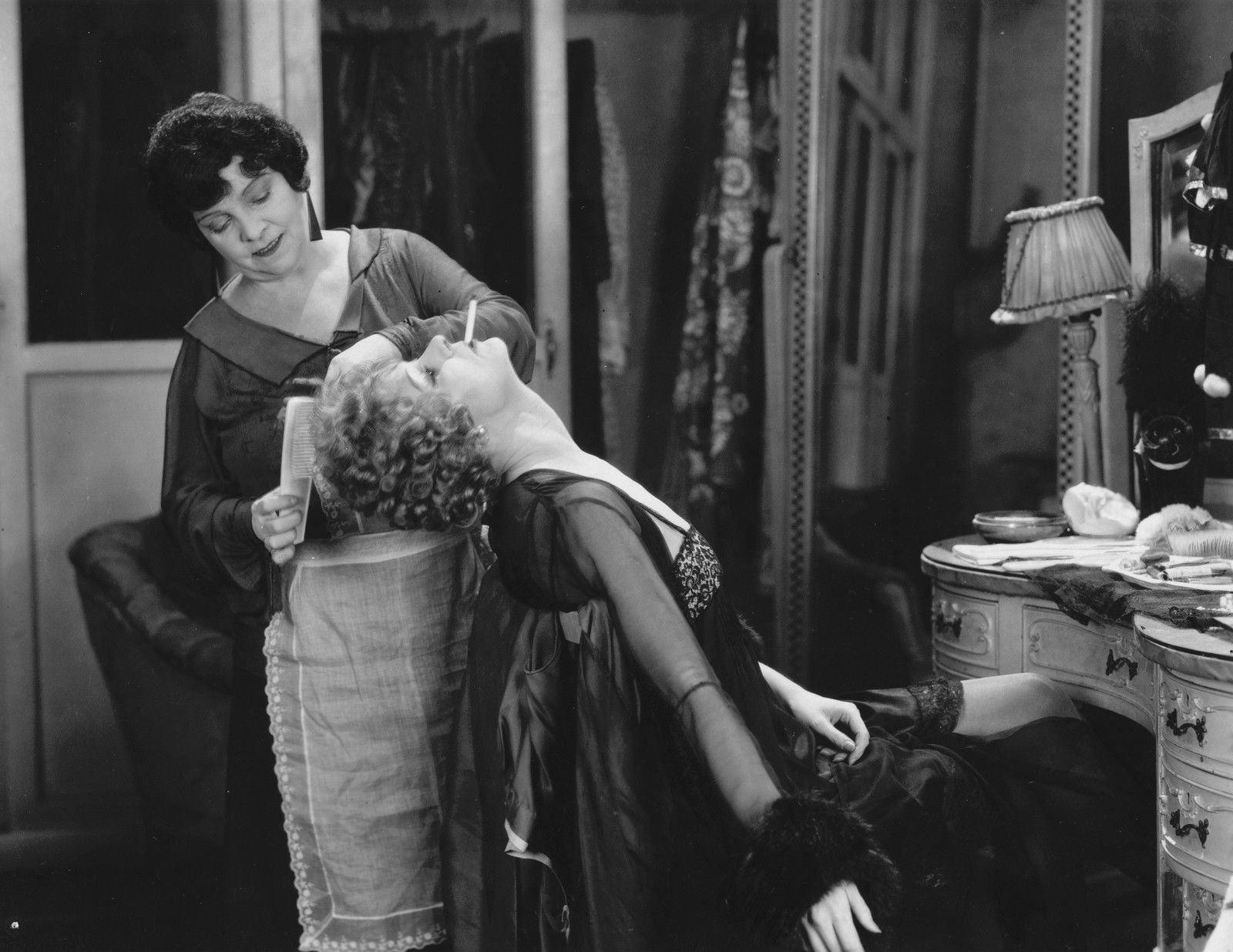 Hannah Jones (standing) and Isabel Jeans in Downhill (dir. by Alfred Hitchcock, 1927)