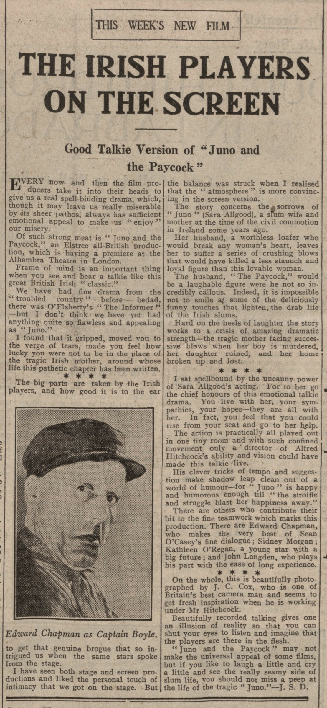 Juno and the Paycock (1930, dir. Alfred Hitchcock) Dundee Evening Telegraph review, 7 March 1930