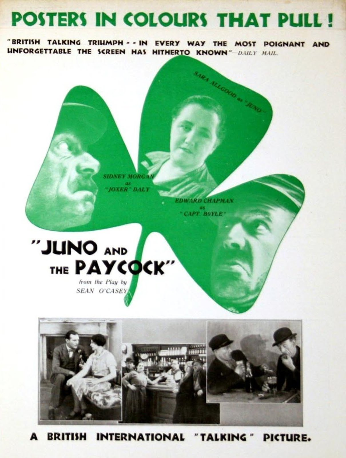 Juno and the Paycock (1930, dir. Alfred Hitchcock) UK pressbook rear