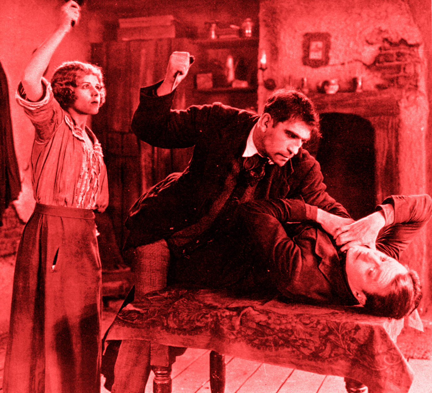 L-R Marjorie Daw, Victor McLaglen and Clive Brook in The Passionate Adventure (1924, asst dir. Alfred Hitchcock)