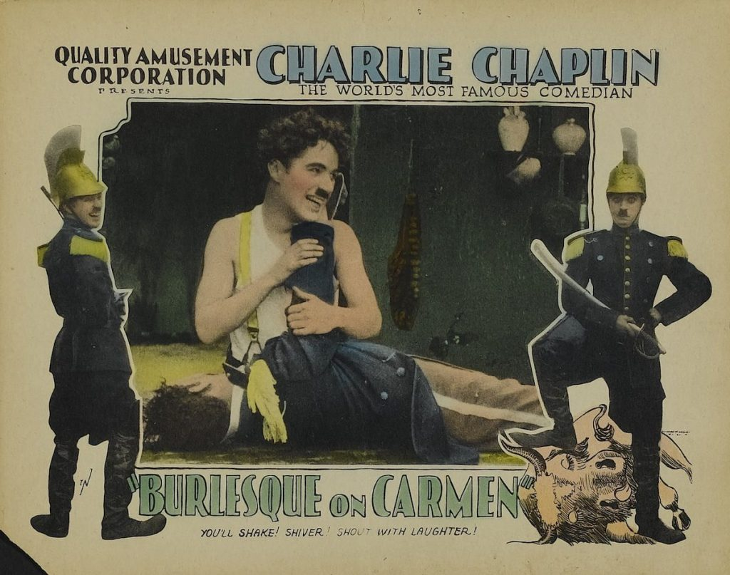 A Burlesque on Carmen (1916, Charlie Chaplin) US 1928 reissue lobby card