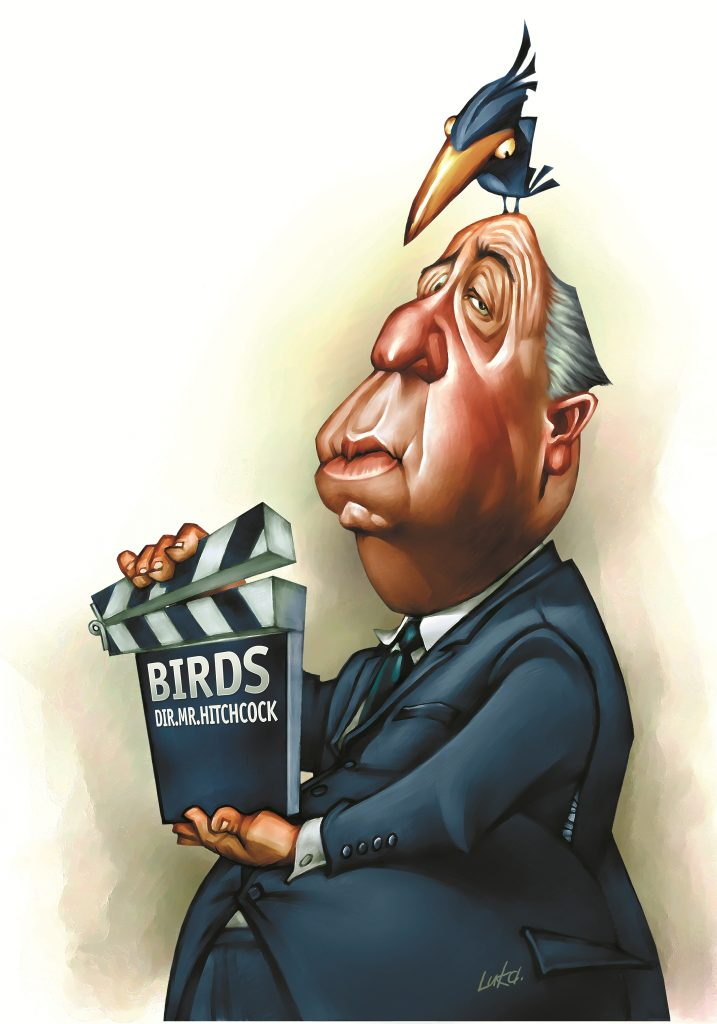 Alfred Hitchcock and The Birds caricature by Luka Lagator