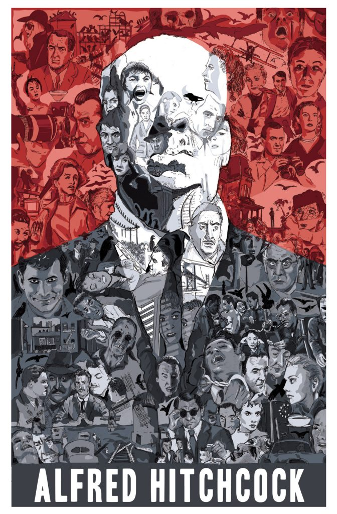 Alfred Hitchcock poster by Matthew Brazier, 2012