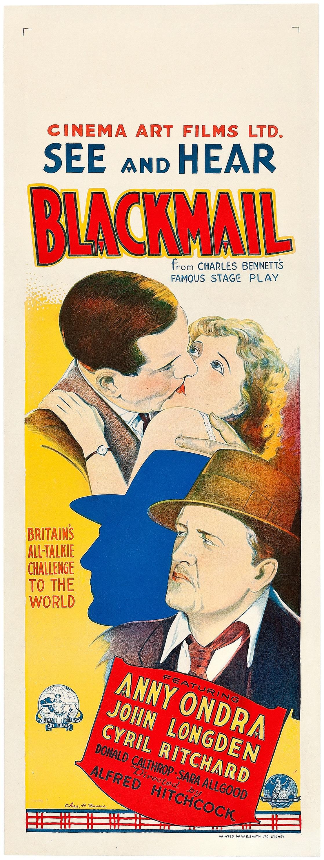 Blackmail (1929, dir. Alfred Hitchcock) Australian daybill poster