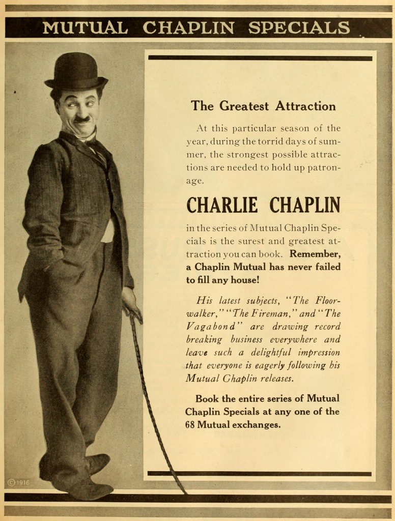 Charlie Chaplin US Mutual trade ad, 1916