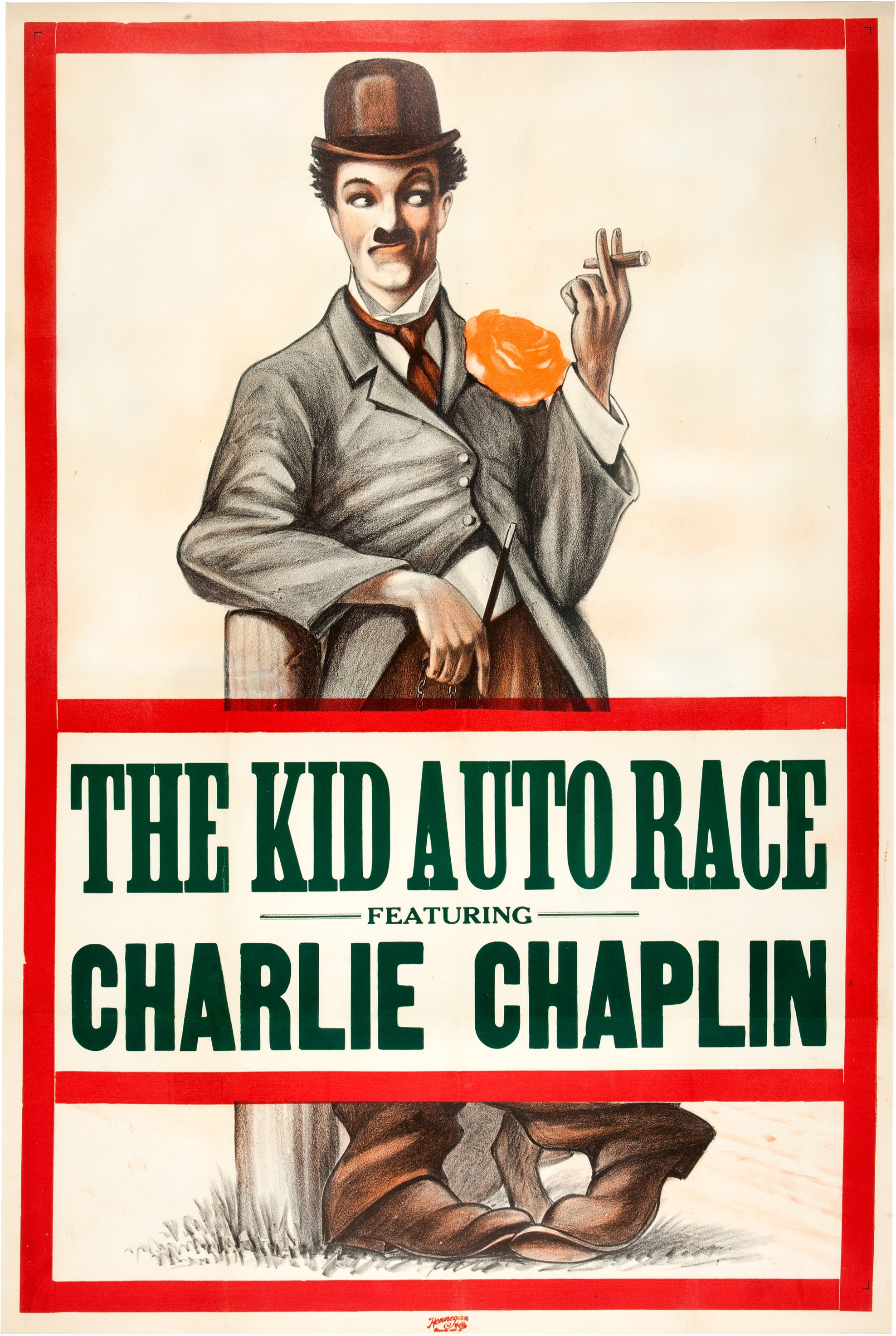 Kid Auto Races at Venice aka The Kid Auto Race (1914) US one sheet poster. Chaplin's second released film and the one in which the Little Tramp made his first public appearance. This poster's a real rarity and possibly the only surviving example, though it and others for his first few films were adapted from a generic variant. Relatively few copies were printed as Chaplin was not yet famous, which explains why it looks so little like him– but all that would change immeasurably by the end of his Keystone Year.