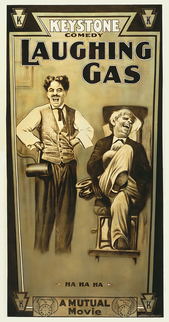 Laughing Gas (1914, Charlie Chaplin) US poster. Chaplin's Keystones were originally distributed by Mutual in the US.