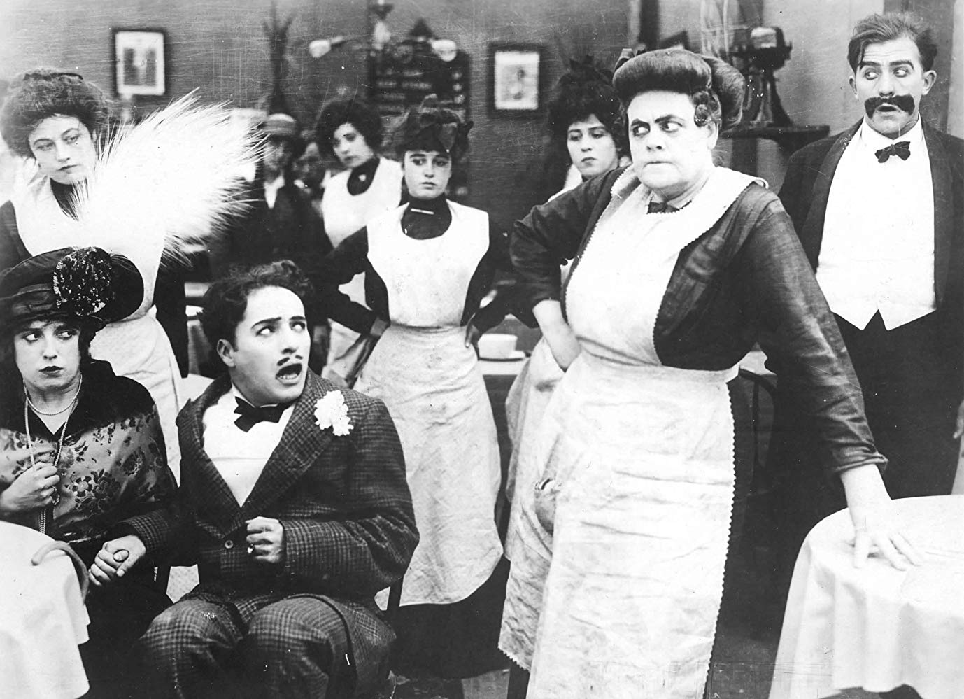 Mabel Normand, Charlie Chaplin and Marie Dressler in Tillie's Punctured Romance (1914)