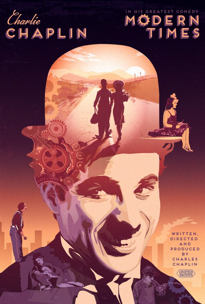 Modern Times (1936, Charlie Chaplin) poster by Pete Lloyd, 2015