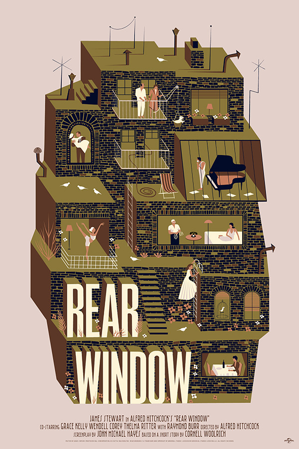 Rear Window (1954, dir. Alfred Hitchcock) poster by Adam Simpson, 2014