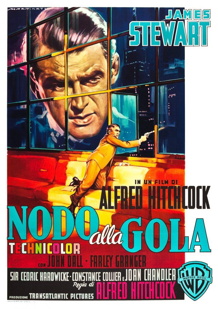 Ropeaka Nodo alla gola (1948, dir. Alfred Hitchcock) Italian poster by Luigi Martinati