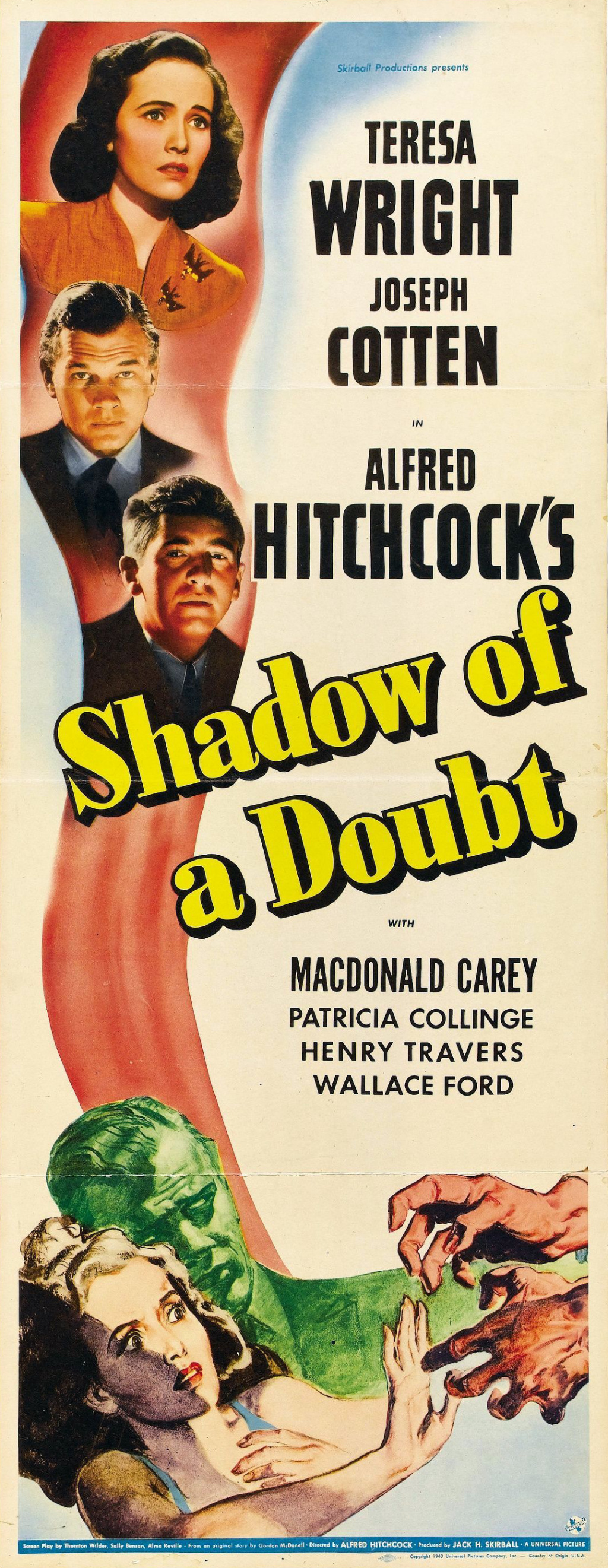 Shadow of a Doubt (1943, dir. Alfred Hitchcock) US insert poster