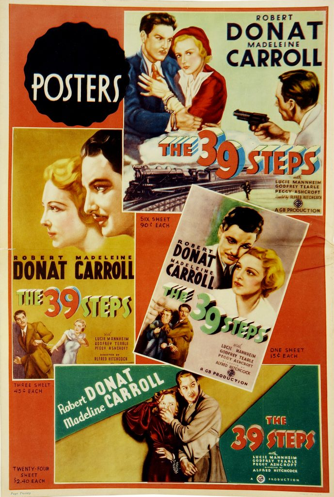 The 39 Steps (1935, dir. Alfred Hitchcock) US pressbook posters. This film was in the US public domain from 1964-1995.