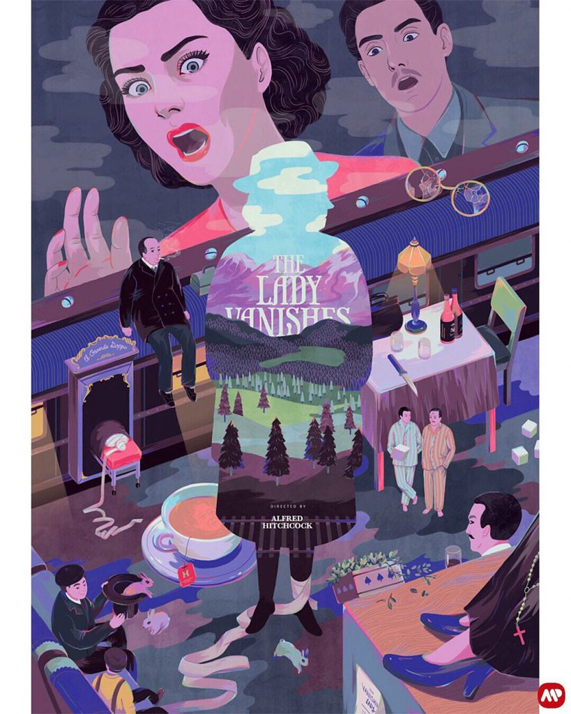 The Lady Vanishes (1938, dir. Alfred Hitchcock) poster by Esther Goh, 2015